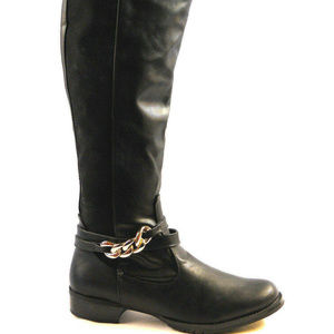 Women's Mascot Riding Boots Solid Black Size 10